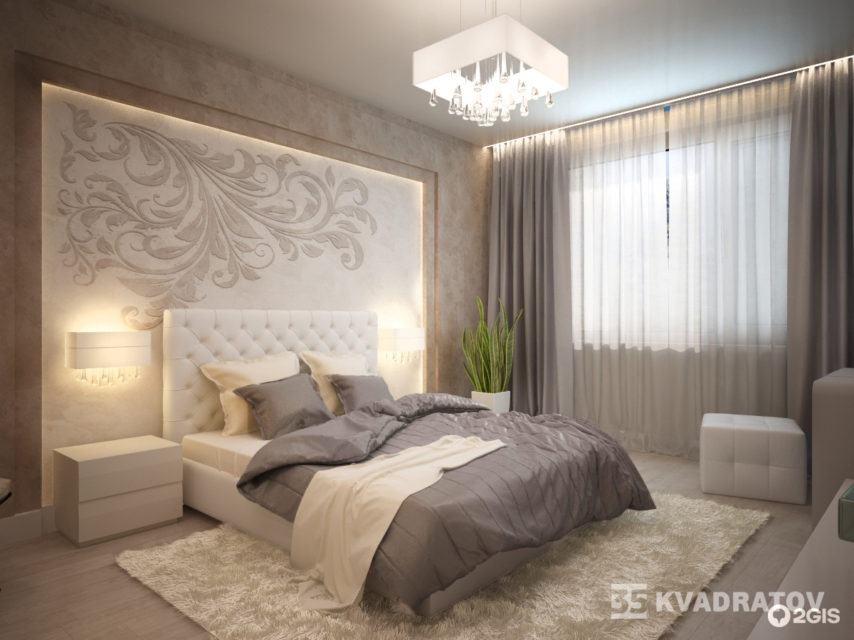 Интерьер прямоугольной спальни фото
