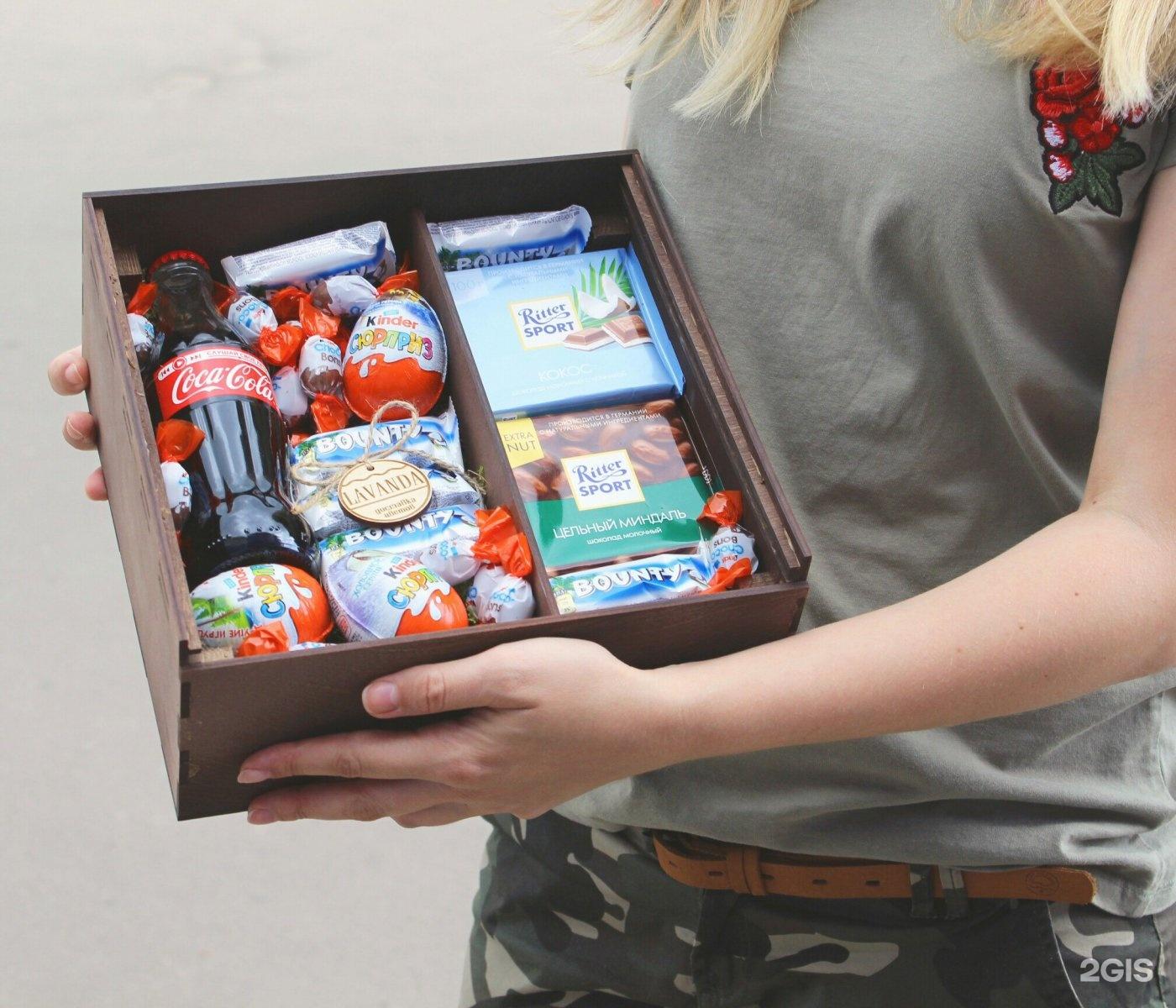 Коробка со сладостями в подарок на день рождения фото