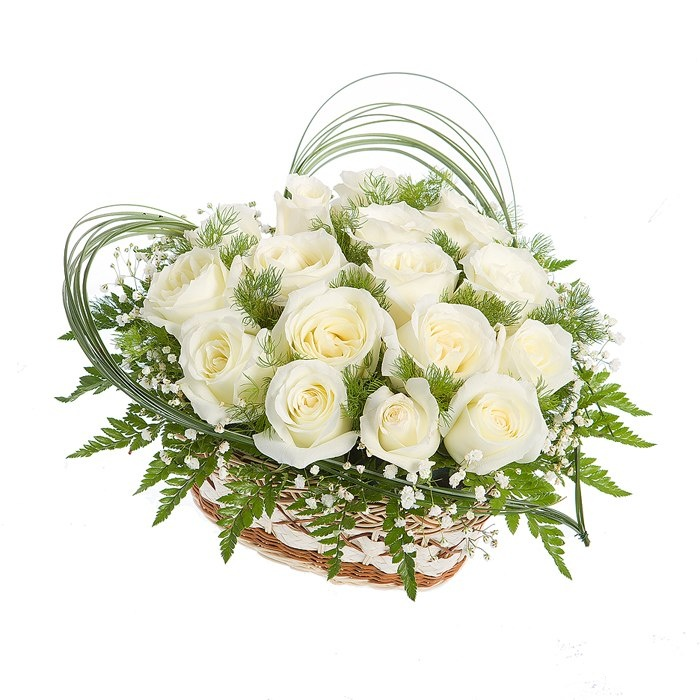 Открытка корзина с белыми розами, именем елена